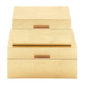 "Rectangular Metallic Gold Leaf Decorative Boxes, Set of 2: 13""x7"", 11""x6"""