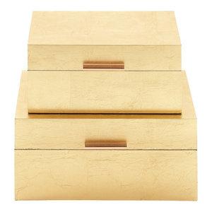 "Rectangular Metallic Gold Leaf Decorative Boxes, Set of 2: 13""x7"", 11""x6"""