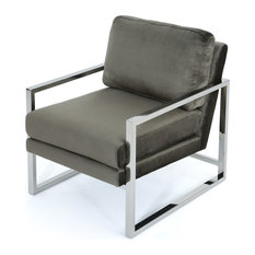 GDF Studio Electa New Velvet Club Chair With Stainless Steel Frame, Gray/Chrome