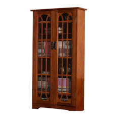 Southern Enterprises   Window Pane Media Cabinet, Oak   Media Cabinets