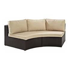Crosley Catalina Outdoor Wicker Round Sectional Sofa With Sand Cushions Sofas