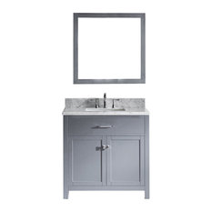 "Virtu Caroline 36"" Single Bathroom Vanity, Gray With Marble Top, With Mirror"