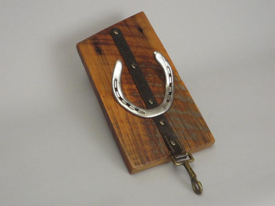 #R15047 Coat Rack Reclaimed Poplar, horseshoes, leather.