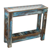 Heavily Distressed Blue Combo Side Table