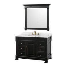 "Wyndham Collection 48"" andover Single Sink Bathroom Vanity Set, Antique Black"
