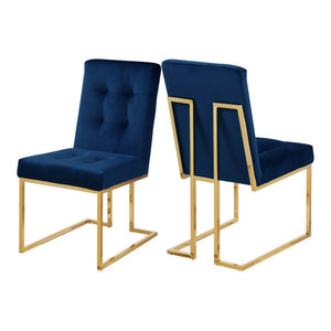 Pierre Velvet Dining Chair, Set of 2, Navy