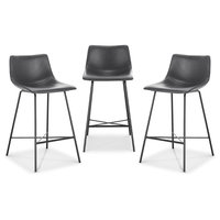 """Poly and Bark Paxton 24"""" Counter Stool, Set of 3, Gray"""