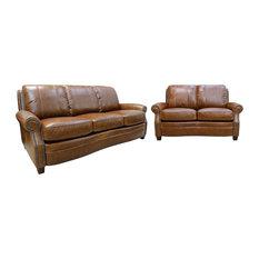 Luke Leather Furniture Ashton Sofa Set 2 Piece Living Room