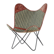 Foldable Printed Cotton And Leather Fabric Butterfly Chair With Metal Base
