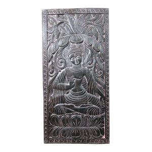 Mogul interior - Consigned Buddha Door Panel Black Patina Hnad Carved Meditation Room Interior - Wall Decor