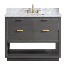 "Avanity Allie 43"" Vanity, Twilight Gray/Gold With Carrara White Top"
