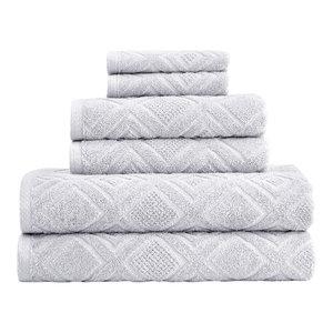 Gemstone 6-Piece Hand Towel Washcloth set Highly Absorbent, Diamond