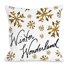 """Winter Wonderland Gold Snowflake Pillow, White and Gold, 16""""x16"""""""