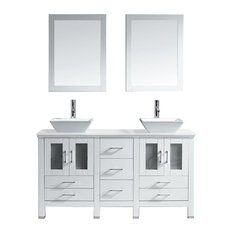 "Virtu Bradford 60"" Double Bathroom Vanity, White With Faucet And Mirrors"