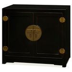 """China Furniture and Arts - Elmwood Ming Style Cabinet, Without Bowl or Faucet - Distinct in its simple clean lines, this handsome Elmwood vanity is a fine example of Ming furniture style. One removable shelf behind two doors provides ample storage room. Classic black finish with distressed edges. The center hardware in brass finish is the symbol of unity. Fit for any contemporary bathroom. Cabinet measures 35""""W x20""""D x31""""H. Porcelain Basin and faucet are not installed."""