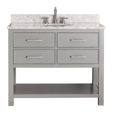 "Avanity Brooks 43"" Vanity With Carrera White Marble Top, Chilled Gray Finish"