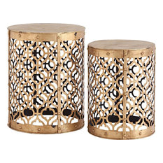 Accent Tables RUDEBEKIA Antique Gold Set 2