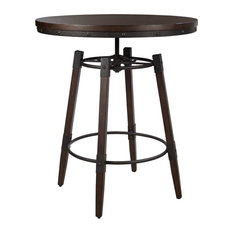 Adjustable Bar Table, Dark Brown