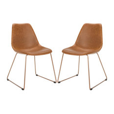 Safavieh Dorian Leather Dining Chairs, Set of 2, Light Brown/Copper