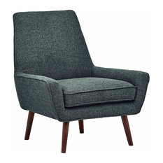 Accent Chair, Hardwood Legs With Padded Seat and Low Arms, Midcentury Style, Mar