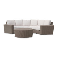 Sunset West Outdoor Furniture Coronado Curved Loveseat With Cushions Cast Petal