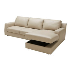 Jenny Beige Leather Sectional Sleeper With Storage In Chaise Left Hand Facing