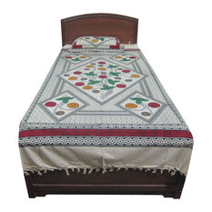 Mogulinterior - Indian Bedcover Cotton Bedspread Plus One Pillow Covers India Decor - Blankets