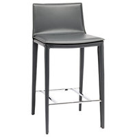 """17.3"""" W Set of 2 Counter Stool Dark Grey Leather Fully Upholstered Contemporary"""
