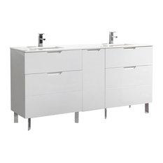 "Aquamoon Livenza Double 72 3/4"" Modern Bathroom Vanity Set, White"