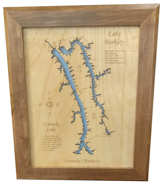 Lake Barkley Kentucky and Kentucky Lake Tennessee Small Framed