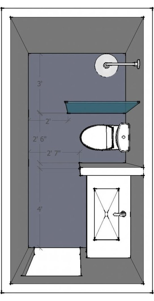 5' x 10' bathroom, Layout help welcome!