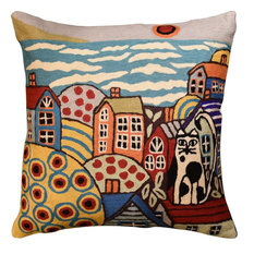 """Sea Side Cat Karla Gerard Decorative Pillow Cover Handembroidered Wool, 18""""x18"""""""