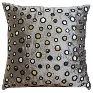 Mirror Gray Silver Pillow Shams, Velvet 60x60 Pillow Sham, Mirror Shimmer