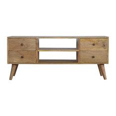 Artisan Furniture - Solid Wood Nordic Media Unit With 4-Drawer, Oak Finish Mango Wood - Media Cabinets