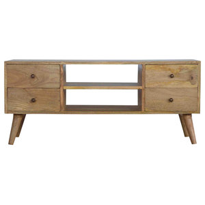 Solid Wood Nordic Media Unit With 4-Drawer, Oak Finish Mango Wood