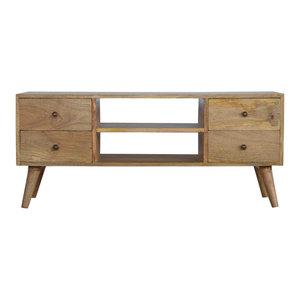 Solid Wood Nordic Media Unit With 4-Drawer, Oak Finish Mango Wood