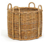 "French Country Fireplace Rattan Basket - Designed in a french country theme. Mainly Baskets is a wholesale importer of basket accessories. The line consists of hand woven, high quality, traditional styled wicker, rattan, and other materials. Dimensions (in):24.5"" Dia x 20""H + 4.5"" hdl."