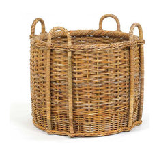French Country Fireplace Rattan Basket