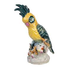 "Beautiful Yellow Cockatoo Porcelain Figurine On Perch 10"""