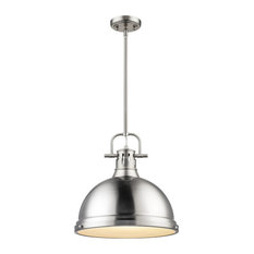 Duncan 1-Light Pendant With Rod, Pewter, Pewter Shade
