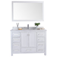 Wilson Single Vanity, White, White Carrara Marble, 48""