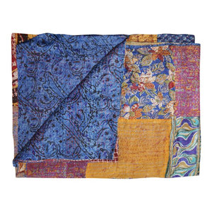 Kantha Silk Throw Quilt Blanket 60