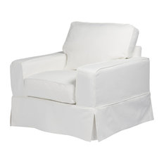 Charmant Sunset Trading   Americana Chair, Slip Cover Set Only, Performance White    Armchairs And