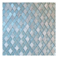 "Frosted Diamond Glass, Travertine Tile, Silver Gray, 11""x11"", Box of 11"