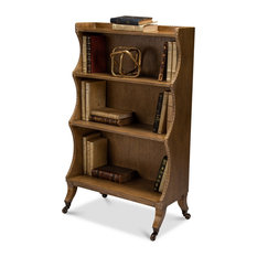 45-inch T Bookcase Heather Grey Solid Wood With Veneer Carved Detail Brass Casters
