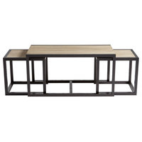 Melies Oak and Black Iron Contemporary Nesting Coffee Tables