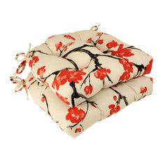 Pillow Perfect Beige/Red Flowering Branch Reversible Chair Pads, Set of 2