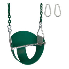 High-Back Half-Bucket Swing Seat With Coated Chain, 5.5', Green