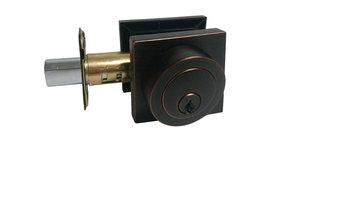 Square Contemporary Door Lever, Style 8048, Dark Oil Rubbed Bronze, Deadbolt