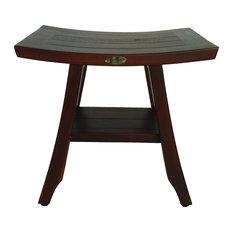 "DecoTeak Satori 18"" Eastern Styled Teak Shower Bench With Shelf"